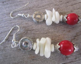 exotic coral earrings, elegant resort jewelry, tropical coral earrings