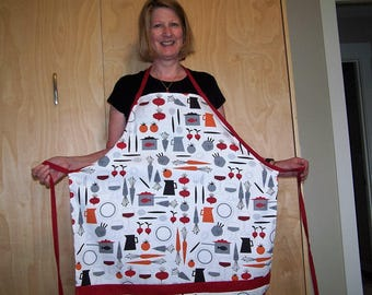 Unisex Full Apron, Wine and Food Print cotton canvas Fabric,Full Apron, Chef's Apron,