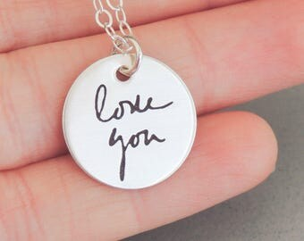 Personalized Actual Handwriting Jewelry, Handwriting Necklace, Custom Signature Necklace, Actual Handwriting, Memorial Handwriting Necklace