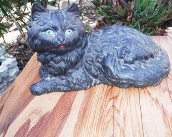 Old Cast Iron Kitty Kat Doorstop cat w green eyes Hubley mold stamped Iron Art