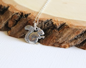 Squirrel Necklace in Sterling Silver, Small Squirrel, Woodland Creature, Chipmunk Bushy Tail, Detailed Squirrel Jewelry, Nature Inspired