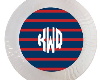 Personalized Red and Navy Rugby Stripe Plastic Plates - Set of 12