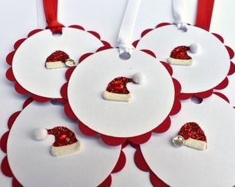 Christmas Present Tags - Holiday Gift Tags - Christmas Exchange Tags - Christmas Favor Tags - Santa Gift Tags - 3D Santa Hat Gift Tag Set