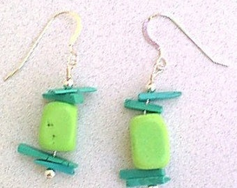 Turquoise Earrings - Blue and Lime Green Turquoise Bead Earrings  Sterling Silver French Wires - Western Southwestern Cowgirl Chic