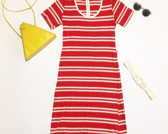Striped dress, 70s striped dress, 1970s clothing, red striped dress, midi dress