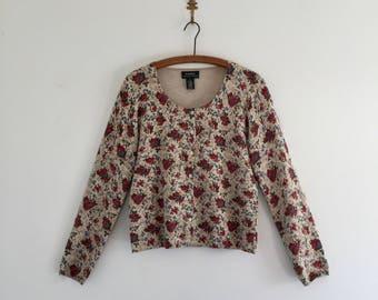 Vintage 90's Ralph Lauren Floral Cardigan Sweater S