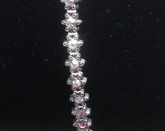 """Handmade 7.5"""" AB Faceted CRYSTAL BRACELET  Genuine Swarovski Crystal Settings Silver Accents Toggle Clasp Pure Sparkle"""