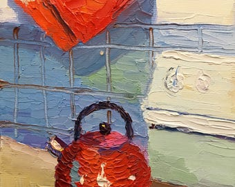 Kitchen Kettle Small Still Life Oil Painting on Canvas