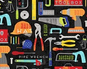 Tools on Black from Northcott Fabric's Nuts and Bolt Collection by Deborah Edwards - Construction