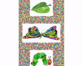 "The Very Hungry Caterpillar Transformation 23.5""x44"" PANEL from Andover Fabrics by Eric Carle"