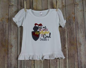 Armor of God Applique Shirt, Christian Shirts, Bible Verse Shirt, Ephesians 6 Kids Shirts
