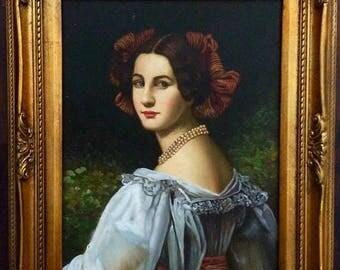 Sale Antique Vintage Oil Painting Portrait of Italian Woman O/WP European Genre Art Framed