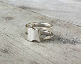 Fork Ring - Upcycled Silverplate Fork Two Tine Ring - Double Fork Ting Ring - Modern Aesthetic (3409-LV)