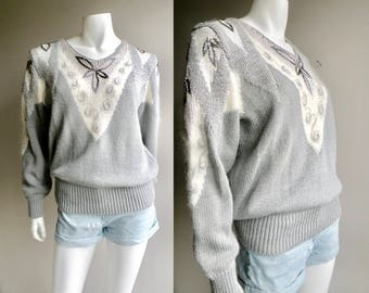 80s Grey and Silver Beaded Angora Holiday Sweater - S to L