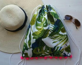 Palm print Drawstring Backpack with pompom trim- Adult size