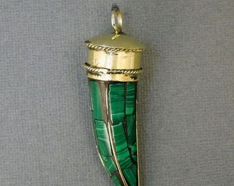 15% off Xmas in July Tibetan Brass Horn with Green Malachite Mosaic Pendant (S32-B8a)