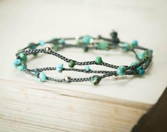 Turquoise Gemstone Wrap Bracelet - Sterling Silver, Braided Gray Silk - Protection, Meditation, Healing, December Birthstone