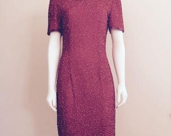 80s Sequin Dress / Red / 80s Dynasty Dress / Christmas Dress / Studio 54