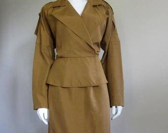 Ellen Tracy / Raw Silk Dress / 80s Suit / Copper / Safari / Designer Dress / Summer Suit / Work Clothes / 80s Does 40s