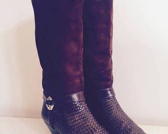 Via Spiga / Brown Boots / Neiman Marcus / 80s / Suede Boots / Woven Leather / Designer / High Fashion / Made in Italy