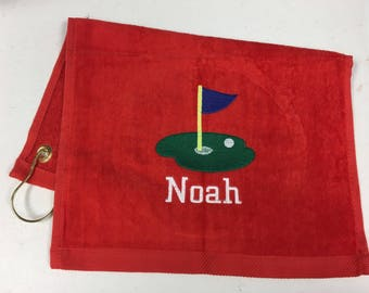 Red golf towel,  personalized,  golf towel,  with corner  grommet and hook, 2 size choices