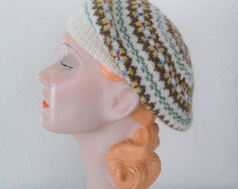 Hand Knit Fair Isle Beret Highland Wool 1940s Vintage Style Ready to ship
