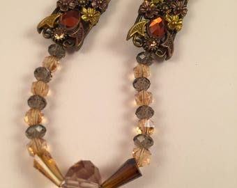Gold and orange glass beaded necklace