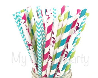 Flamingo Paper Straws Tropical Mix / Aloha Decor Fiesta Decor Birthdays Anniversary Bridal Shower Bachelorette Party