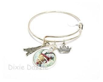 Marie Antoinette charm bracelet, Eiffel Tower charm, crown charm, adjustable bangle bracelet, silver cuff, silver charms