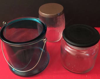 THREE RECYCLED 14.5 oz and two 16 oz  empty candle jars, clear, teal, woodgrain look