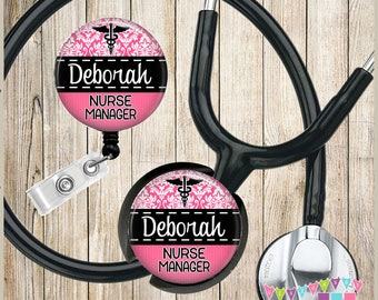 Personalized - Pink Damask - Medical Symbol - COMBO Badge Reel & Stethoscope ID Name Tag