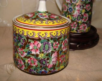Cream and Sugar Set From Japan, Chintz on Gilt, Very Colorful