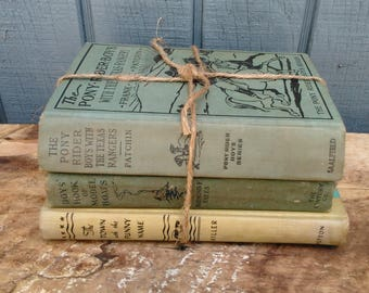 Antique Green Book Collection - Model Boat Book - Pony Rider Boys - Texas Rangers