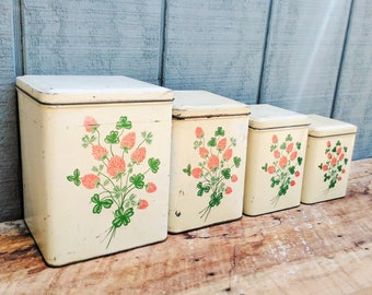 Vintage Canister Set - 4 Pc Canister Set - 1949 Nesco Canister Set - Cottage - Farmhouse - Kitchen Decor - Kitchen Storage