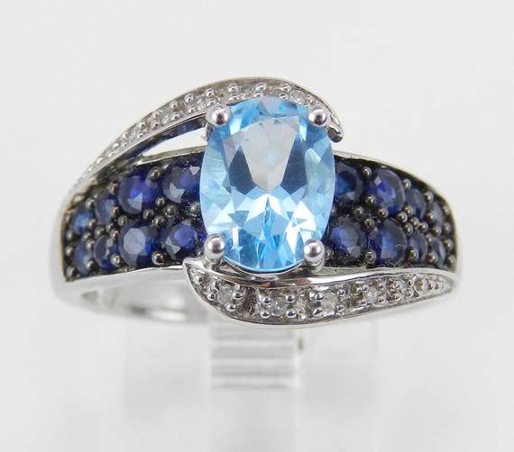 Blue Topaz Sapphire Diamond Engagement Ring Promise 14K White Gold Size 6.75