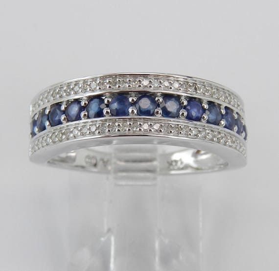 Diamond and Sapphire Wedding Ring Anniversary Band 14K White Gold Size 7 September Gem