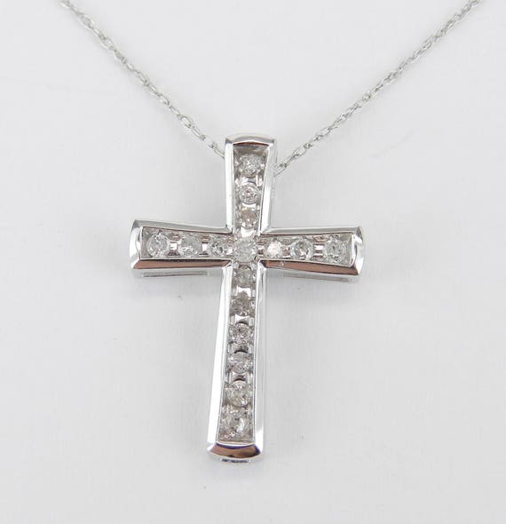 "Diamond CROSS Pendant Necklace Religious Charm 18"" White Gold Chain"