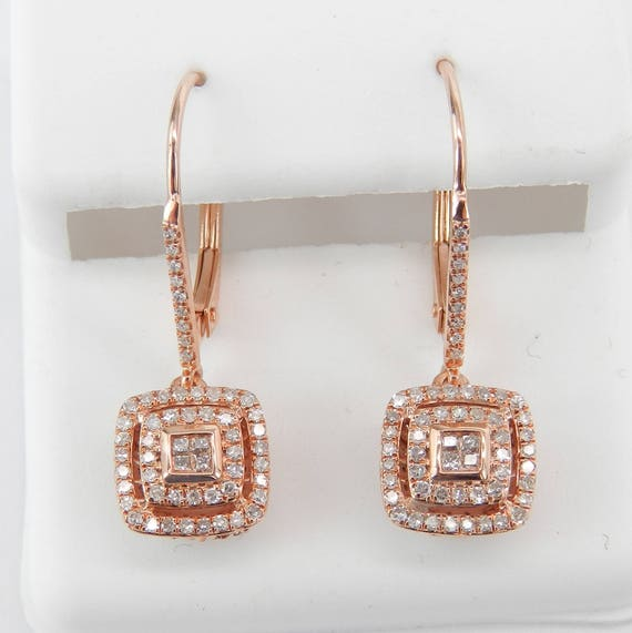 Rose Gold Diamond Cluster Dangle Drop Earrings Halo Princess Cut Wedding Gift