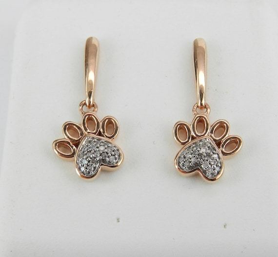 Rose Gold Diamond Cluster Dangle Drop Earrings Puppy Dog Paws