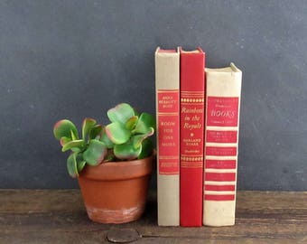 Old Book Decor, Decorative Books, Red and Tan Book Set, Set of 3 Vintage Books, FREE SHIPPING
