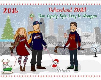 Cleveland - Custom Illustrated Christmas Card - Holiday Card - Hannukah Card - DIY Printable - Print Option Available