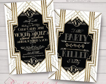 Wedding, Sweet 16, Engagement, Shower Invitations: Roaring 20s, Gatsby, Black & White, Gold or Navy. Samples/Digital Files/Printing Avail