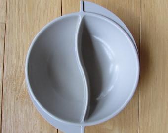 Vintage Mid Century Boonton Melmac Divided Gray Bowl