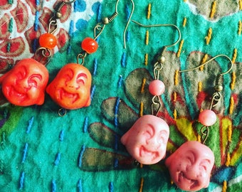 Colorful Buddha earrings -your choice of color
