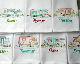 Happy Campers - DOW - Ready to Ship - Set of 7 Vintage-Style Days-of-the-Week Embroidered Tea Towels