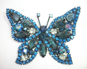 Blue Butterfly Brooch ~ WEISS ~ Vintage Eye Catching Beauty. BOLD