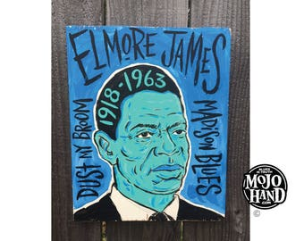 Elmore James blues folk art painting on wood by Grego of mojohand.com - outsider art
