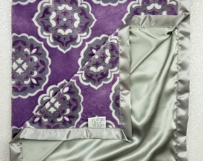READY TO SHIP Minky Blanket, Purple and Grey, Baby Girl, Purple Minky, Silk blanket, Satin Blanket, Baby gift, Purple Girl Minky