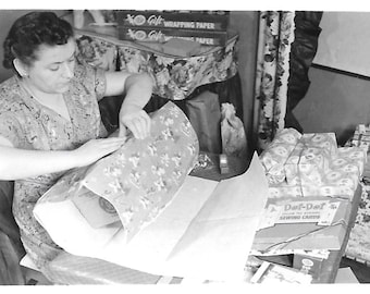 "Vintage Snapshot ""Busy Christmas Eve"" Last Minute Gift Present Wrapping Paper Mom Hard At Work Santa's Elf Found Vernacular Photo"