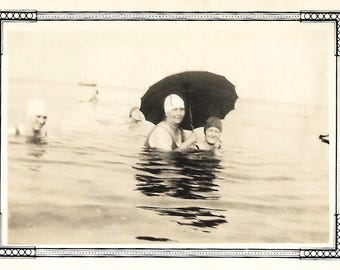 "Vintage Snapshot ""SPF"" 1920's Women Carry Parasol While Swimming To Keep Their Porcelain Complexion Old Photo Found Vernacular Photograph"